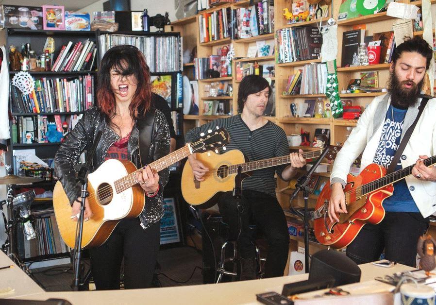 ISRAELI ROCKER Ninet performs a Tiny Desk Concert at the NPR music office in Washington, DC