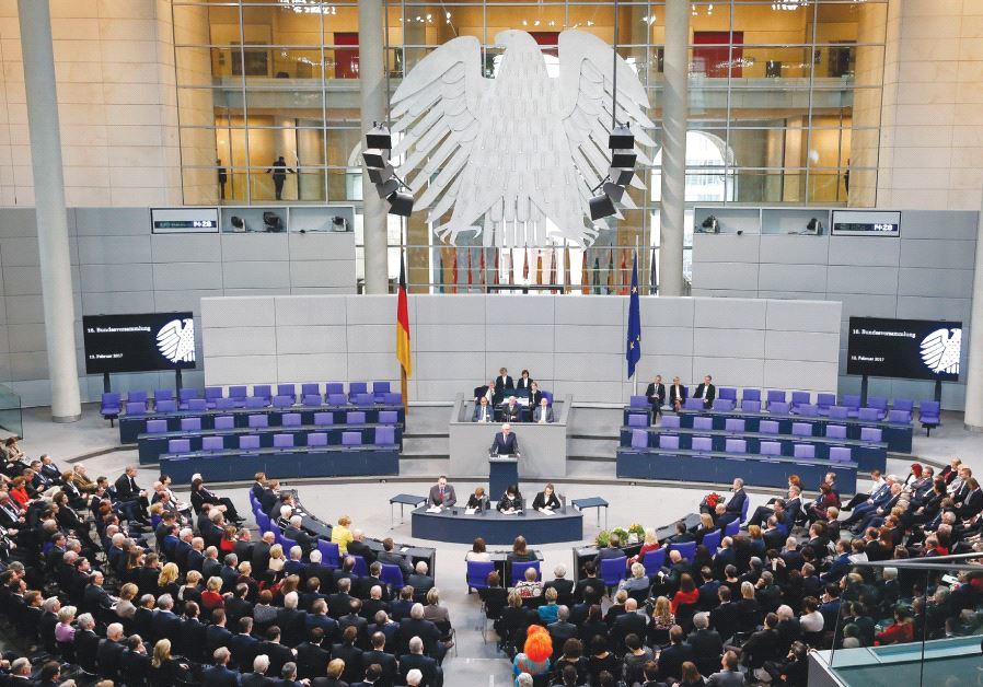 GERMAN PRESIDENT-ELECT Frank-Walter Steinmeier gives a speech after the first round of voting in the