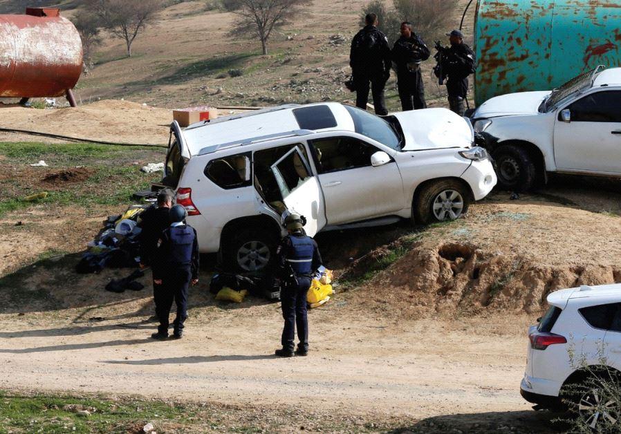 THE CAR DRIVEN by Beduin teacher Yacoub Abu al-Kaeean is seen where it ran into policemen during the