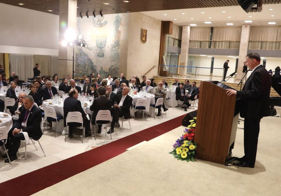 KNESSET SPEAKER Yuli Edelstein addresses conference participants at a dinner event at the Knesset ye