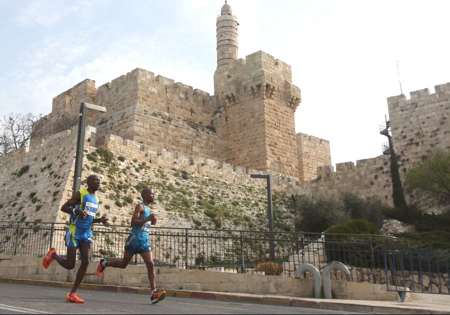 Runners in the Jerusalem Marathon
