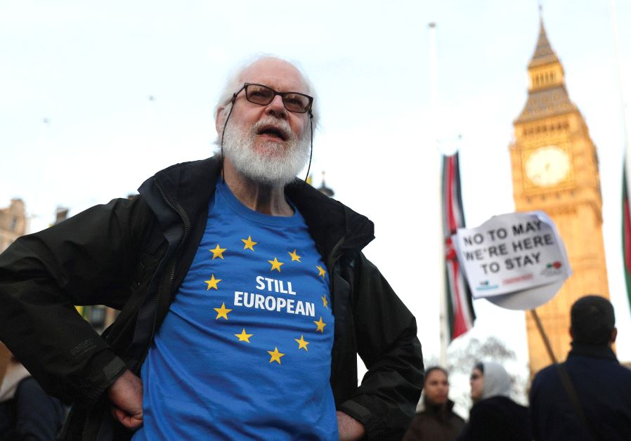 NOT FOR much longer. A man protests against Brexit in London.