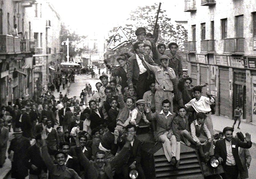 JEWS CELEBRATING the Partition Plan in 1947 in Jerusalem. 'The UN General Assembly's 1947 Partition
