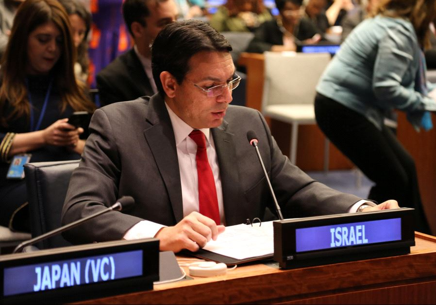 Ambassador Danon addressing the UN after the Israeli resolution was adopted.