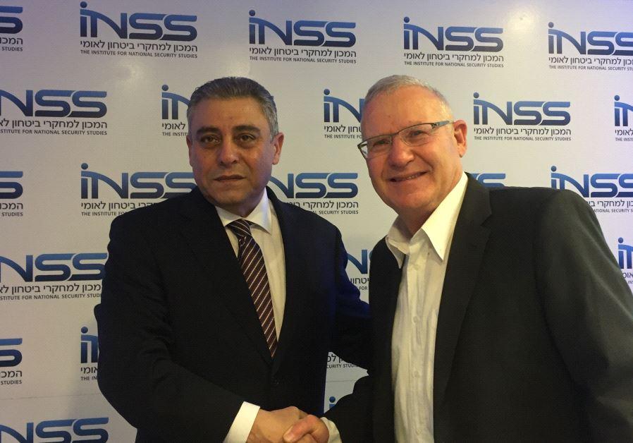Egyptian Ambassordor Hazem Khairat With INSS' Amos Yadlin