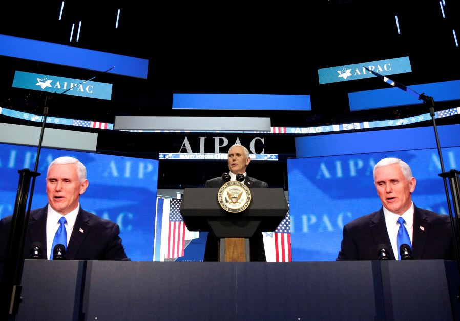 US Vice President Mike Pence delivers speech at 2017 AIPAC convention