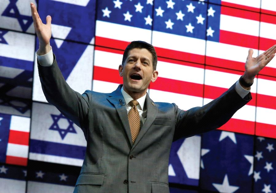 SPEAKER OF THE HOUSE Paul Ryan greets the crowd at Monday's session of the AIPAC conference in Washi