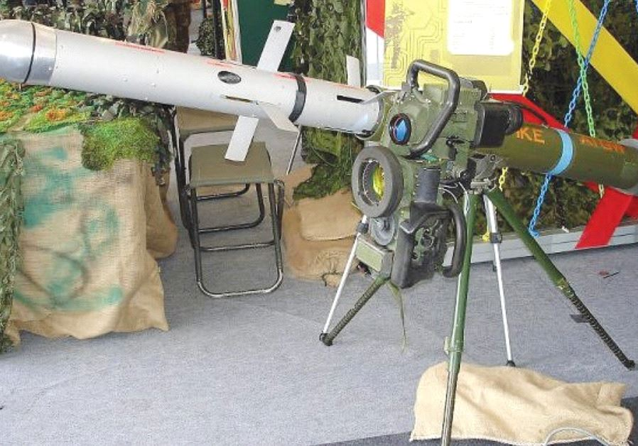 A SPIKE MISSILE is seen mounted on a tripod launcher at a Singapore Army Open House in 2007.