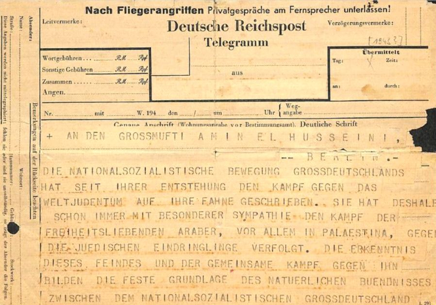The telegram written by Himmler and sent to Jerusalem Mufti Haj Amin al-Husseini.