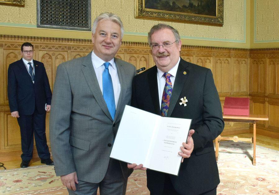 Bar-Ilan University President Rabbi Prof. Daniel Hershkowitz with Deputy Prime Minister of Hungary Z