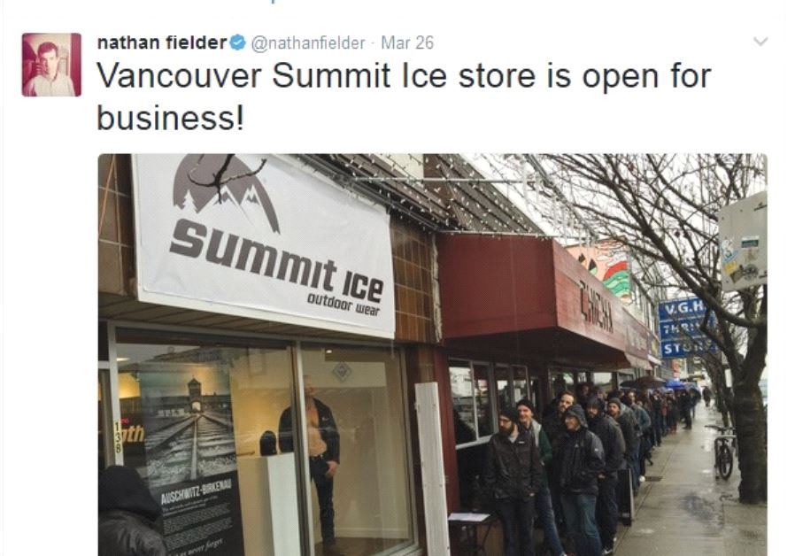 PEOPLE LINE UP to enter the new Summit Ice store in Vancouver, Washington, where they can trade in t