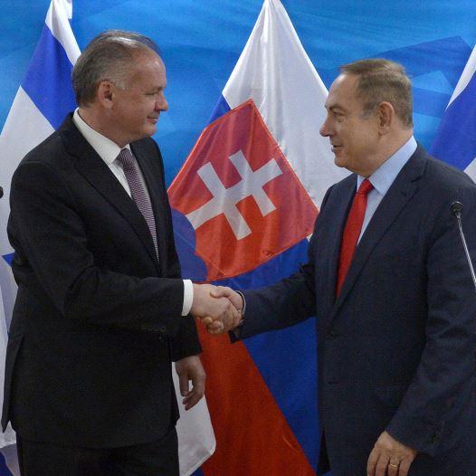 Netanyahu and Slovakian President Andrej Kiska (credit: CHAIM ZACH / GPO)