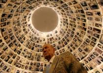 Russian poet Yevgeny Yevtushenko visits the Hall of Names at the Yad Vashem Holocaust Memorial in Je