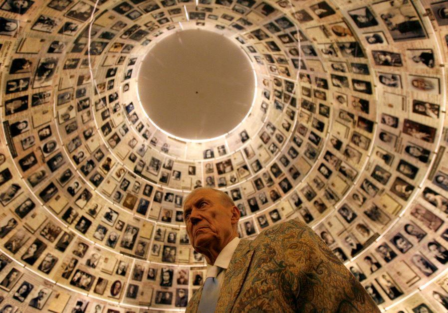 Russian poet Yevgeny Yevtushenko visits the Hall of Names at the Yad Vashem Holocaust Memorial in Je