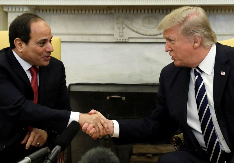 US President Donald Trump with Egyptian President Abdel Fattah al-Sisi in the Oval Office.