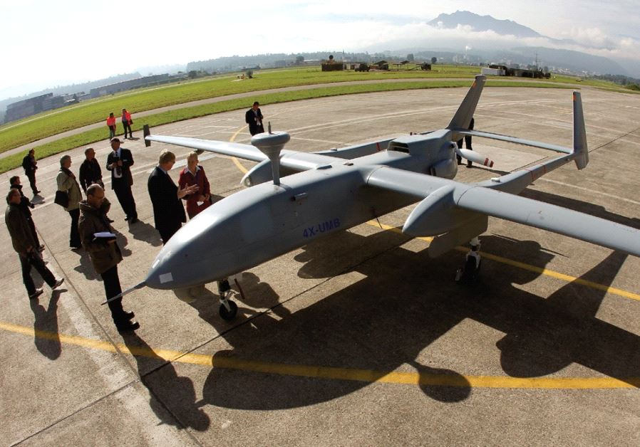 AN IAI HERON stands on the tarmac during a media presentation in Emmen, Switzerland, in 2012