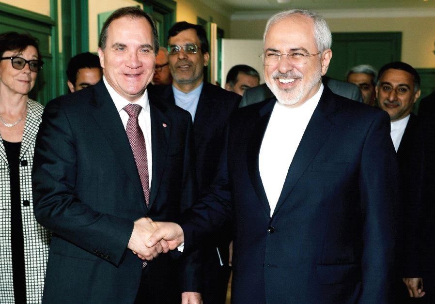 SWEDEN'S PRIME MINISTER Stefan Lofven welcomes Iran's Foreign Minister Mohammad Javad Zarif at Rosen