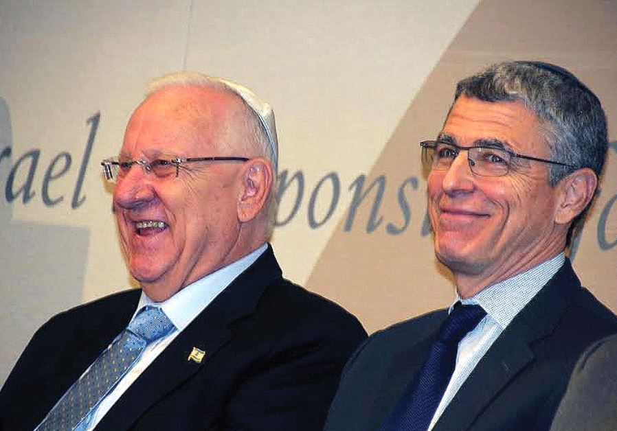 PRESIDENT REUVEN RIVLIN and Rabbi Rick Jacobs, the head of the Union for Reform Judaism, attend a me