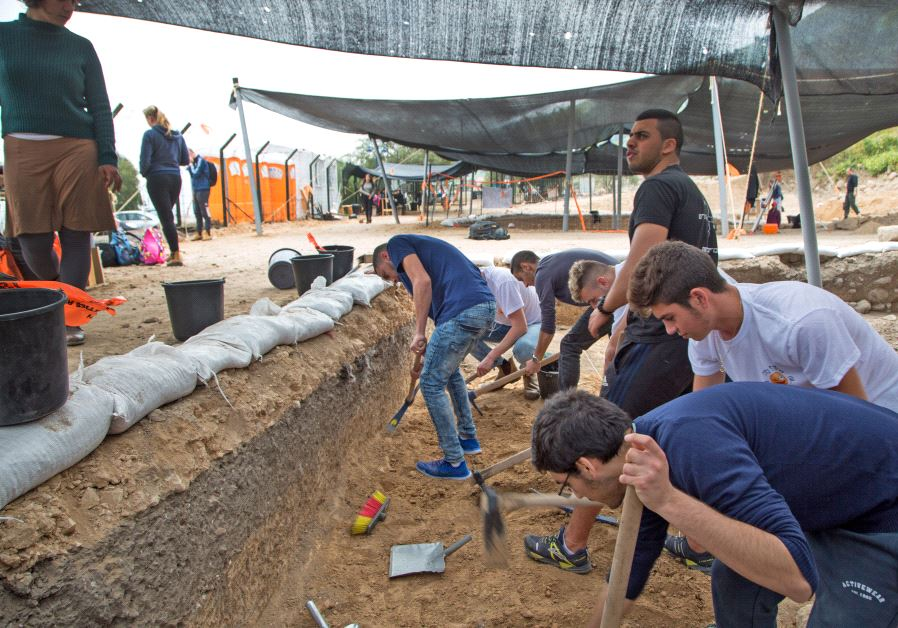 Students participating in archaeological excavations to prepare the Sanhedrin Trail