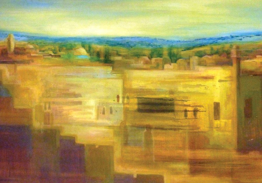 Painting titled 'Jerusalem Gold' by Yoram Raanan