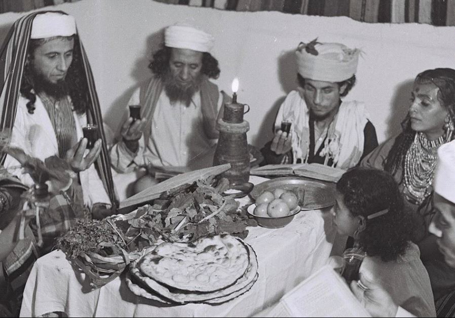 A Yemenite Habbani family celebrates Passover in Tel Aviv.