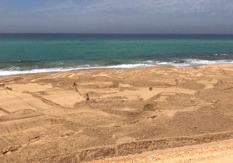 A section of the Nahariya beach following cleanup.
