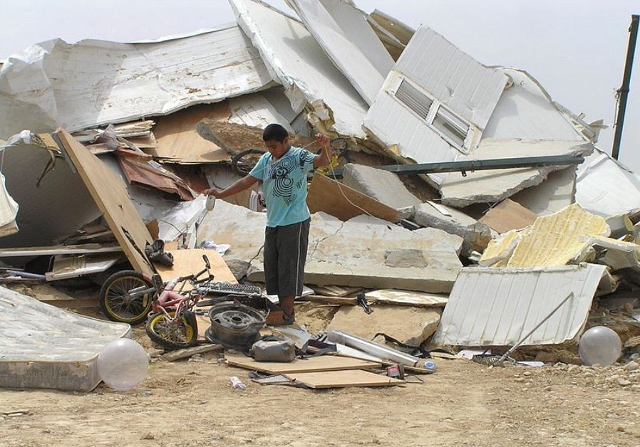 A demolished house in the unrecognized Bedouin village of al-Arakib, few days after all the houses