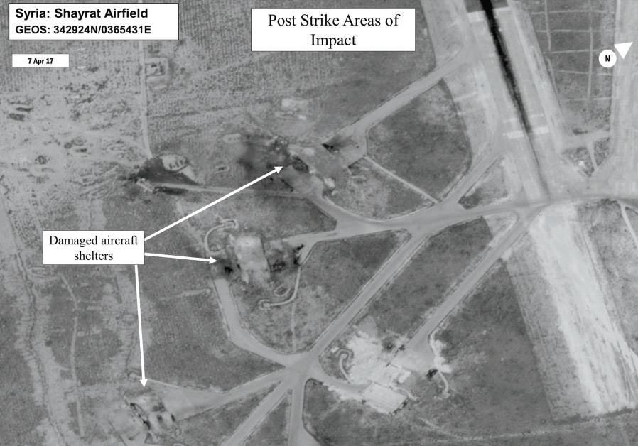 BATTLE DAMAGE assessment image of Shayrat Airfield, Syria, released by the Pentagon.