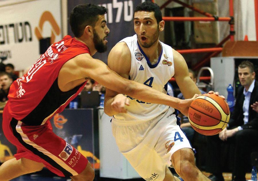 Bnei Herzliya forward Karam Mashour (right) had 15 points and nine rebounds in last night's 75-60 w