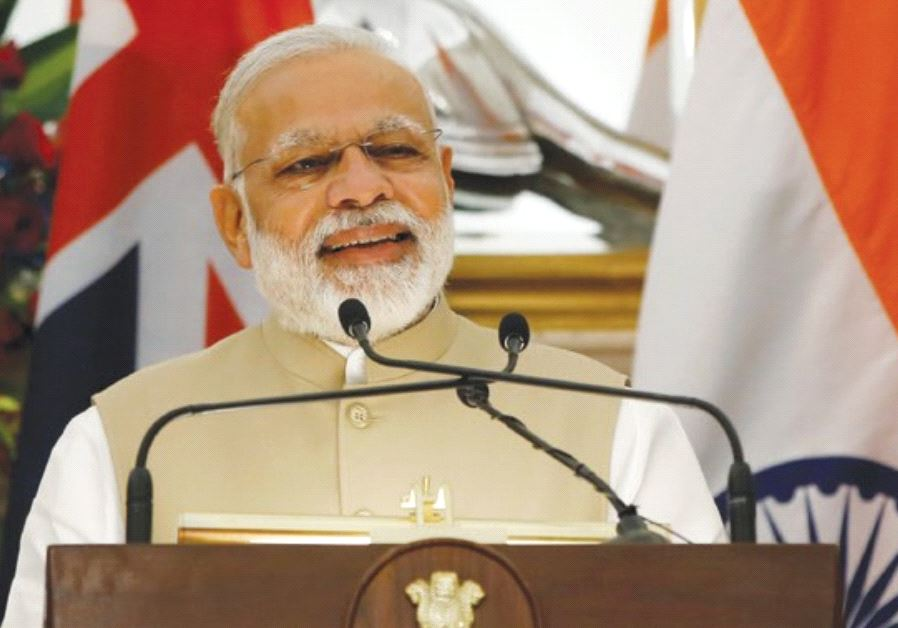 INDIAN PRIME MINISTER Narendra Modi speaks at Hyderabad House in New Delhi