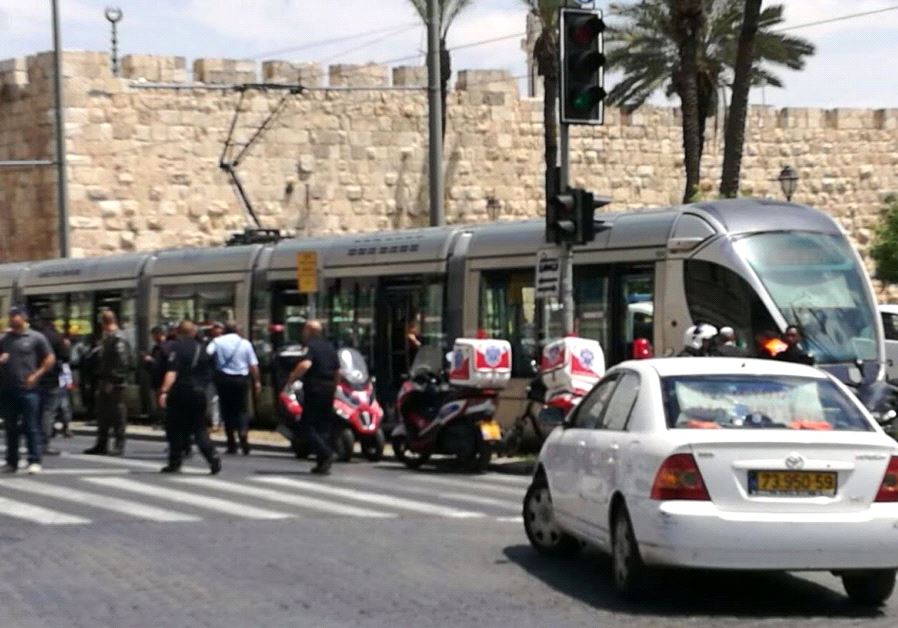Photo from the scene of terror attack on light rail in Jerusalem