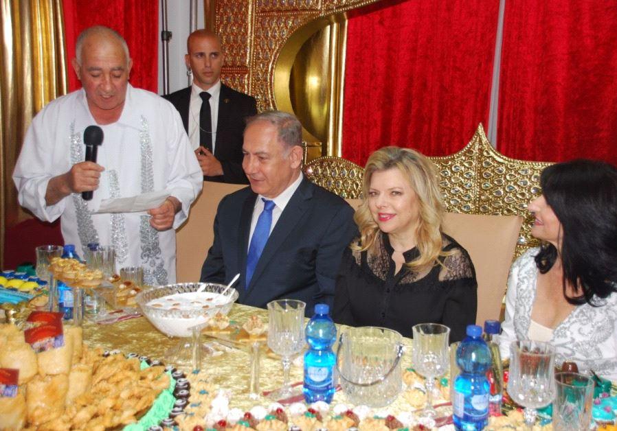 Prime Minister Benjamen Netanyahu and his wife Sarah celebrate the Mimouna in Hadera
