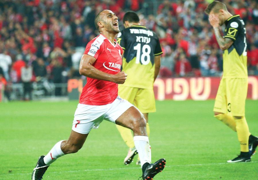 Hapoel Beersheba midfielder Maharan Radi celebrates after scoring the opener in last night's 2-0 win