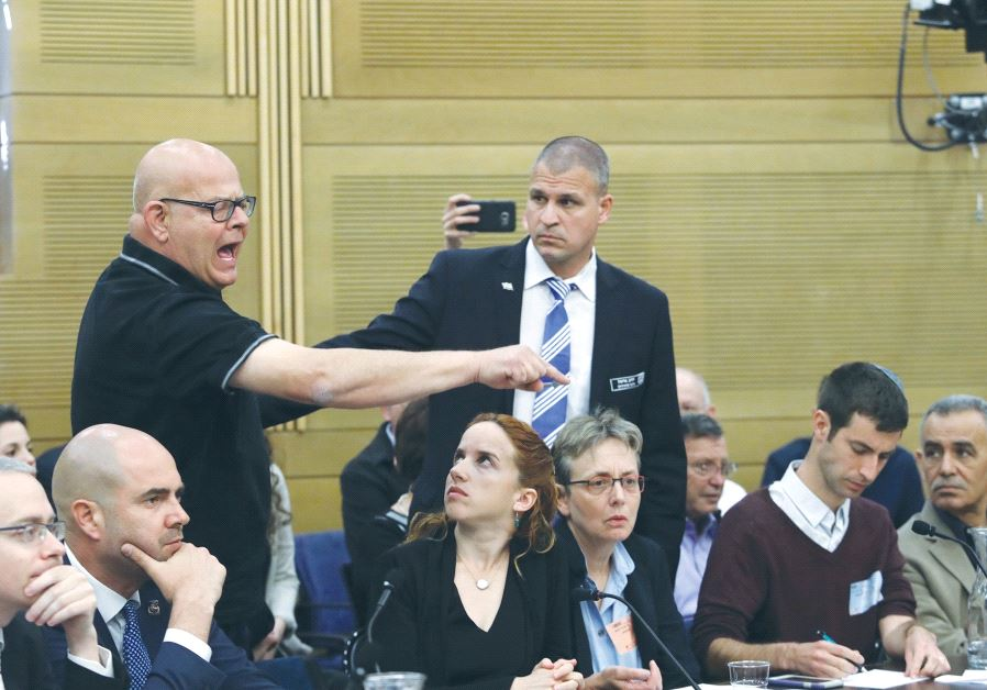 BEREAVED FATHER Ilan Sagi reacts at the Knesset State Control Committee meeting during a discussion