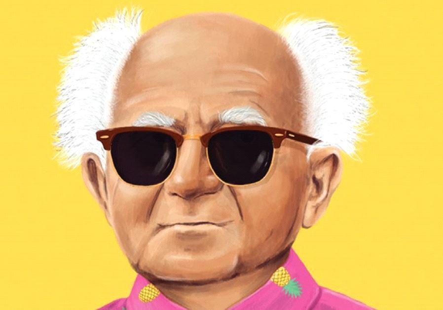 Artist Amit Shimnoi's drawing of David Ben Gurion.