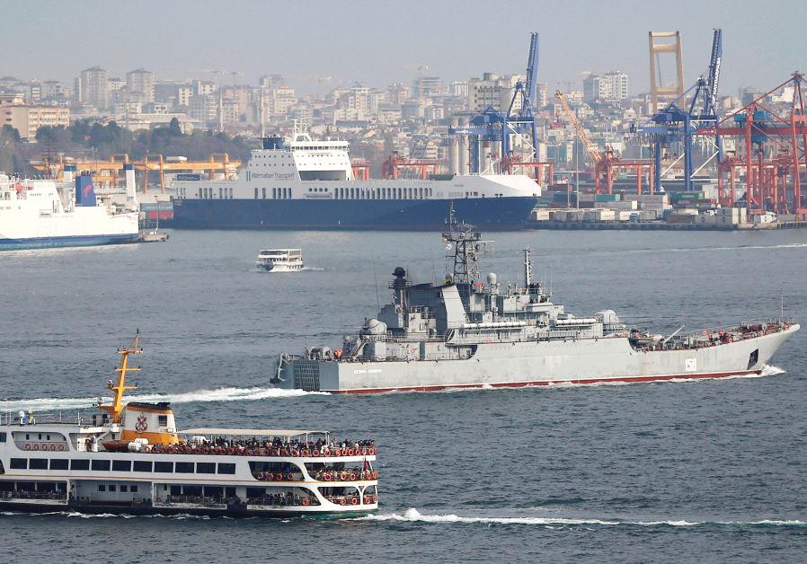 THE RUSSIAN Navy's landing ship 'Caesar Kunikov' sails in the Bosphorus near Istanbul.