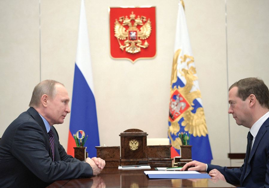 RUSSIA'S PRESIDENT Vladimir Putin meets with Prime Minister Dmitry Medvedev at the Novo-Ogaryovo sta