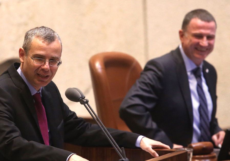 TOURISM MINISTER Yariv Levin addresses the Knesset plenum on behalf of the government, as Knesset Sp