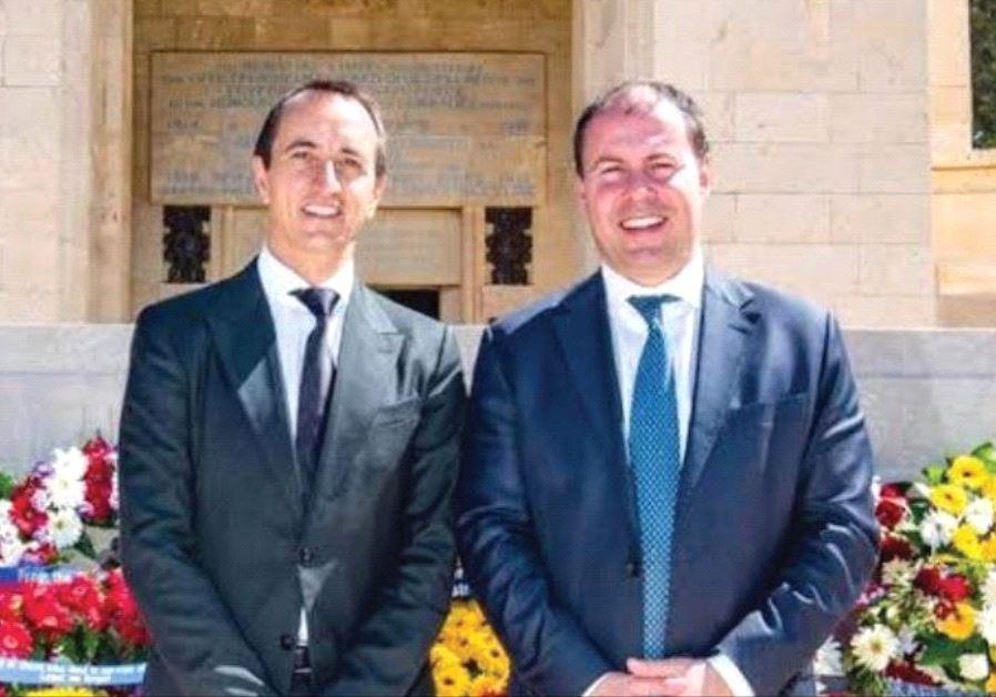 AUSTRALIAN AMBASSADOR Dave Sharma (left) and Josh Frydenberg, Australian minister for environment an
