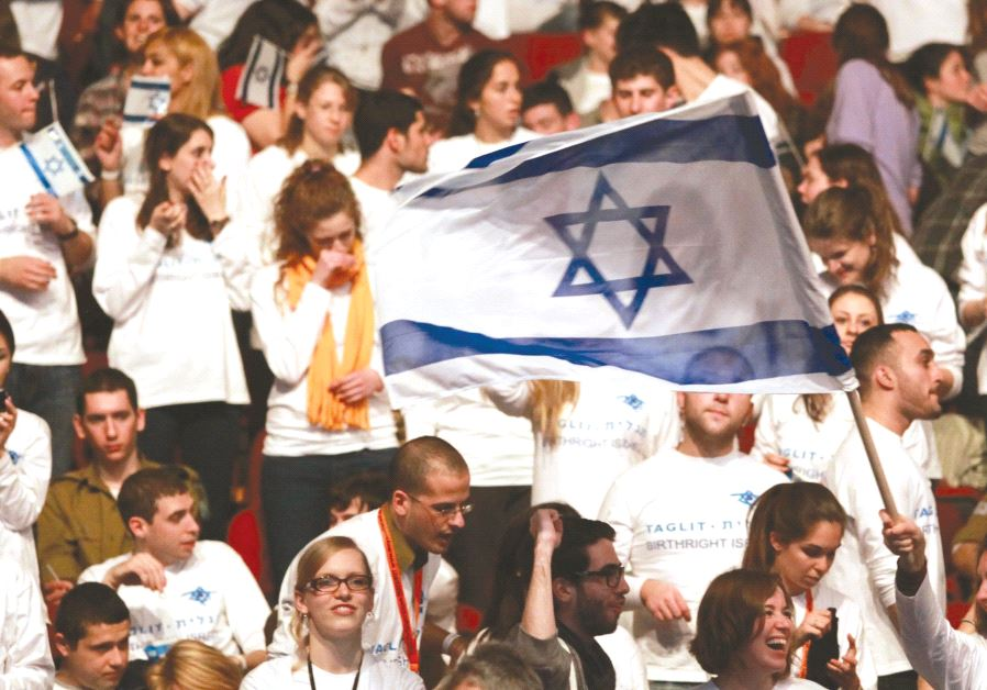 YOUTH ATTEND a Birthright-Israel event in Jerusalem.