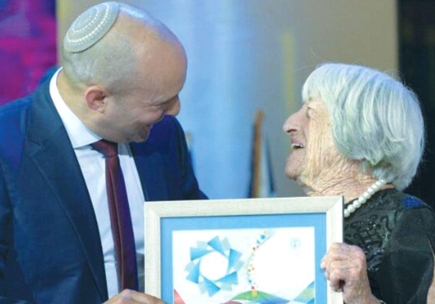 AGNES KELETI receives the Israel Prize from Education Minister Naftali Bennett in Jerusalem