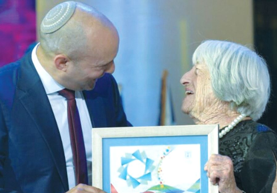 AGNES KELETI receives the Israel Prize from Education Minister Naftali Bennett in Jerusalem
