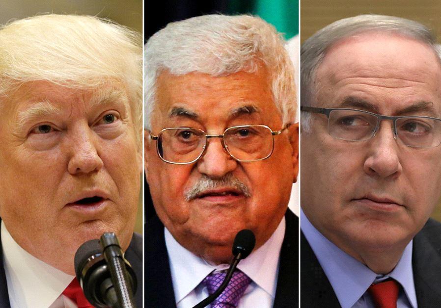 Trump Abbas Netanyahu