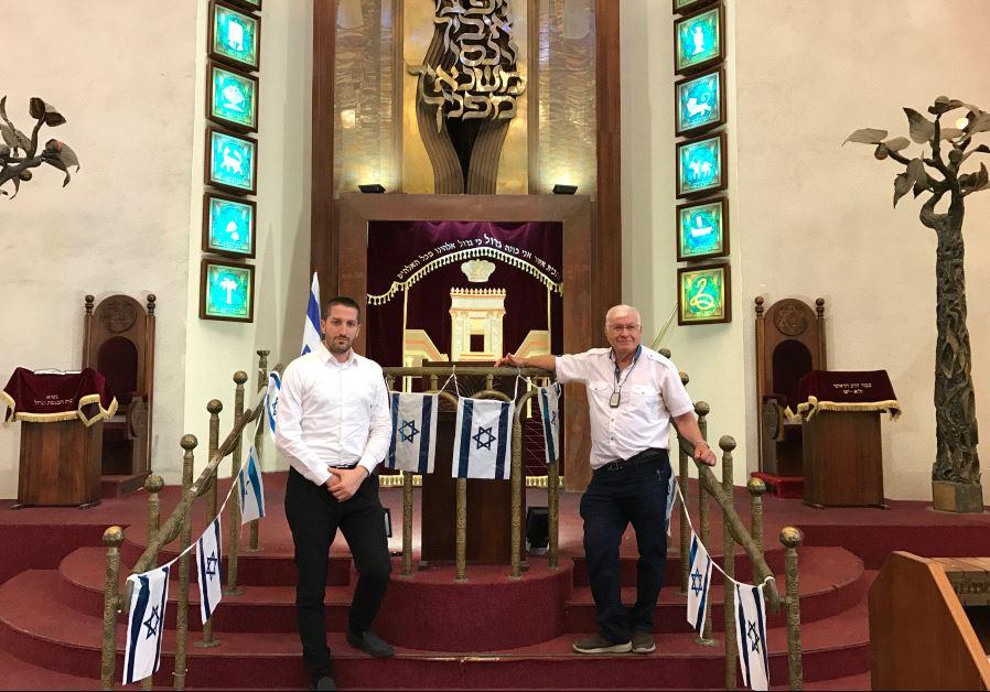 The Tel Aviv Great Synagogue's President Shlomo Pivko (left) and managing director Abraham Eisnberg.