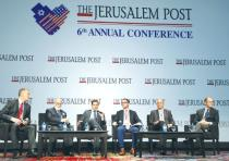 PARTICIPANTS IN THE conference economic panel (from left): Yaky Yanay, CEO & president of Pluristem