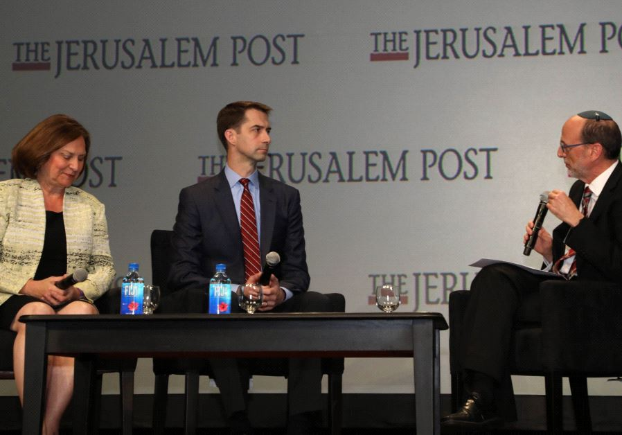 Republican Senator Deb Fischer (left) and Senator Tom Cotton, a Republican from Arkansas at The Jeru