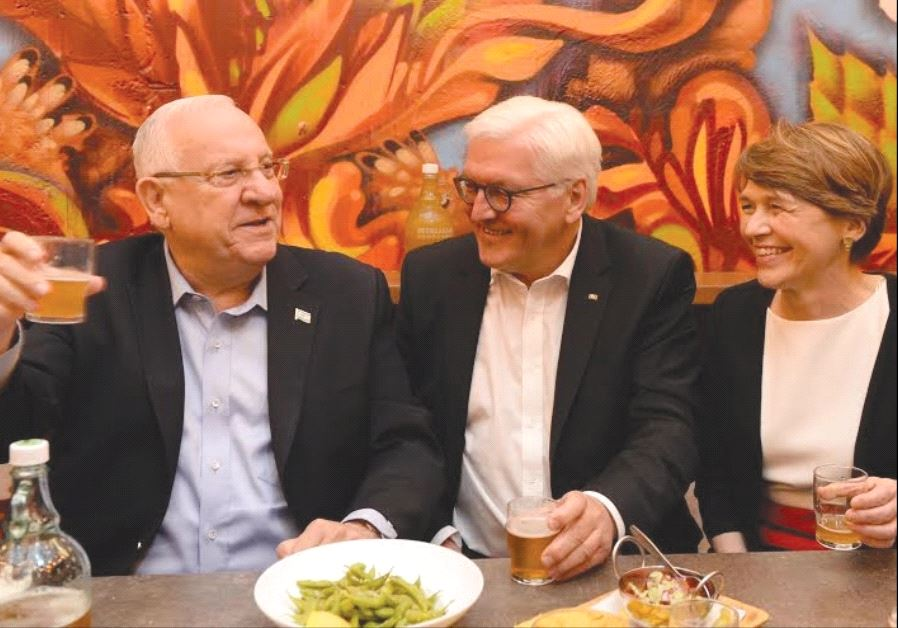 PRESIDENTS REUVEN Rivlin and Frank-Walter Steinmeier, together with Steinmeier's wife, Elke Budenben