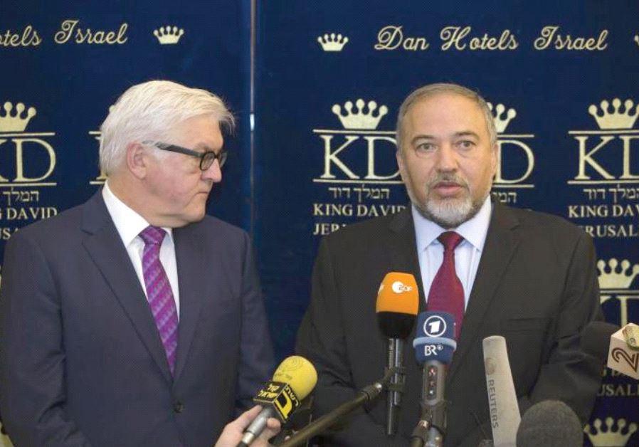 FOREIGN MINISTER Avigdor Lieberman meets his then-German counterpart Frank-Walter Steinmeier at the