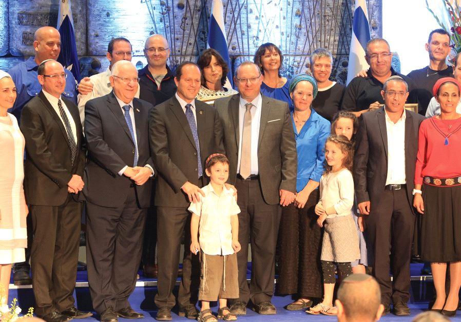 THE FRAENKEL, Shaer and Yifrach families, with President Reuven Rivlin and Jerusalem Mayor Nir Barka