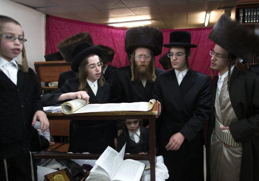 Ultra-Orthodox Jewish men praying in Ramat Beit Shemesh